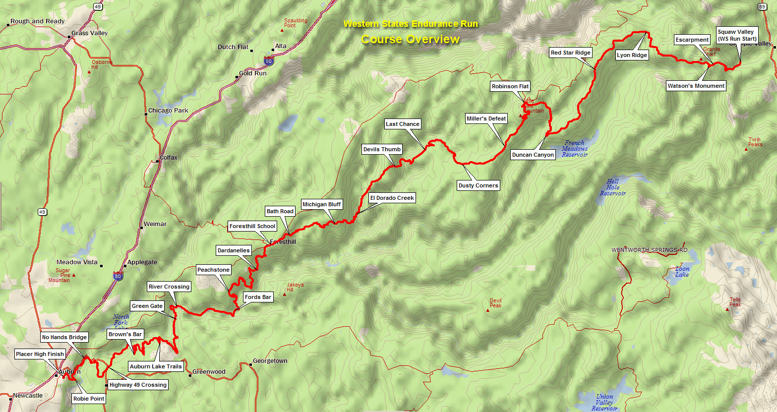 Mapa trate Western States 100