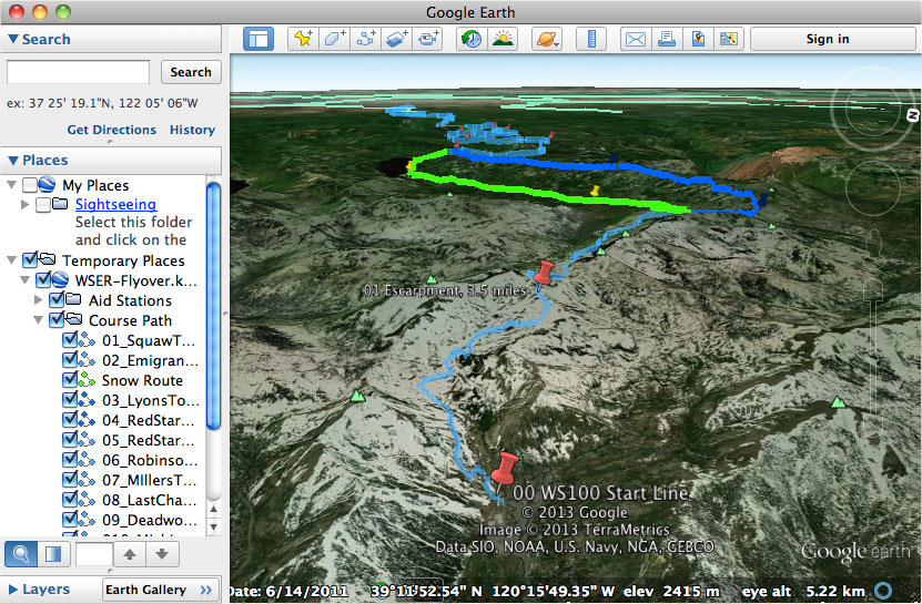 Google Earth Trail Flyover Western States Endurance Run - Google maps jogging route