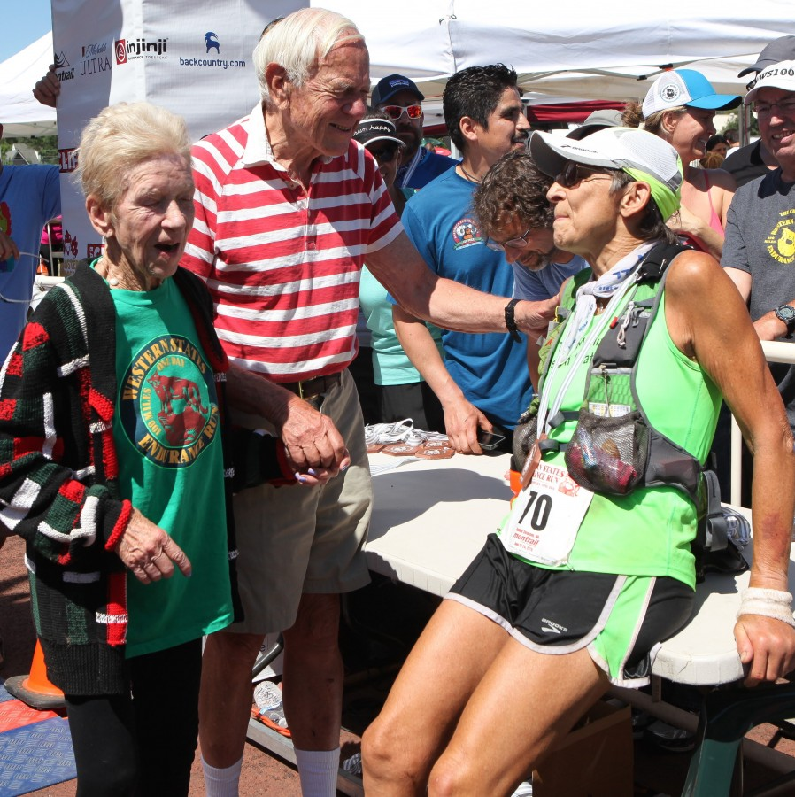 Ruth Anne, Wally, and Gunhild Swanson at the finish of WS.